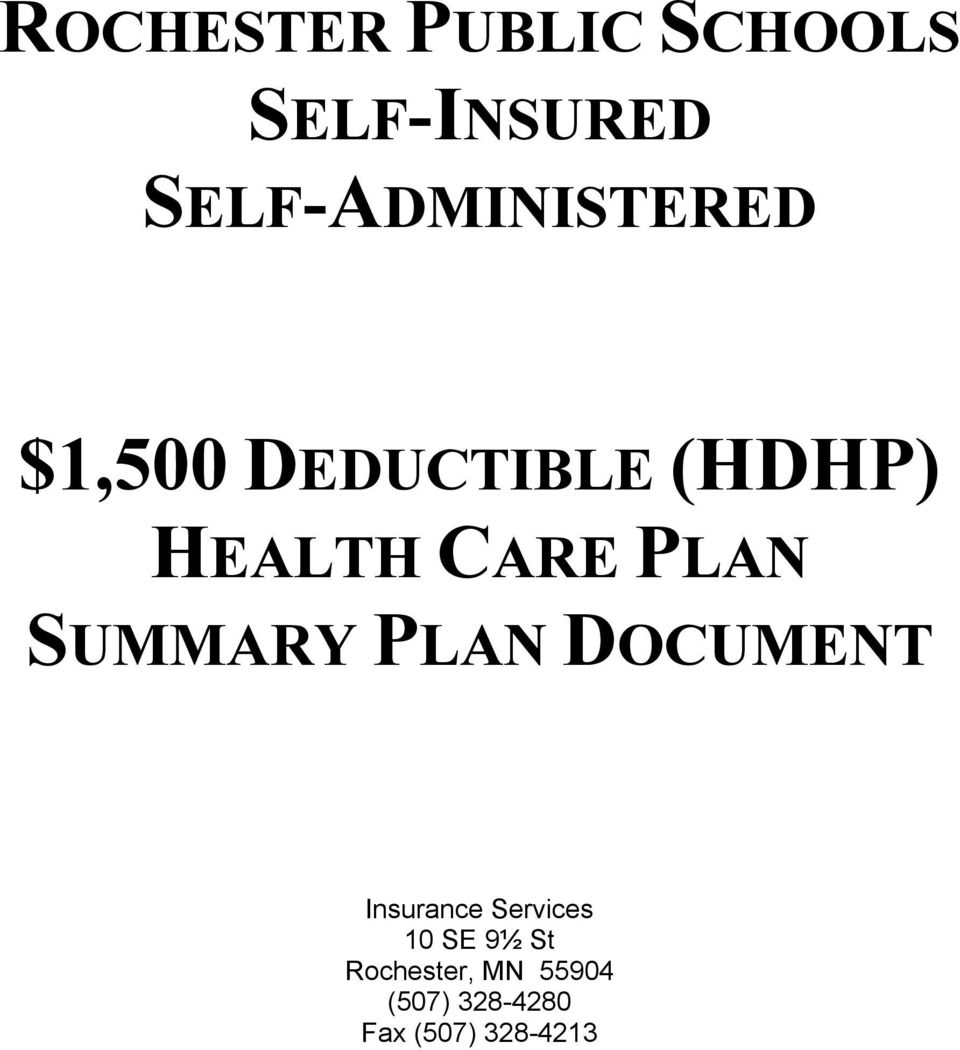 CARE PLAN SUMMARY PLAN DOCUMENT Insurance Services