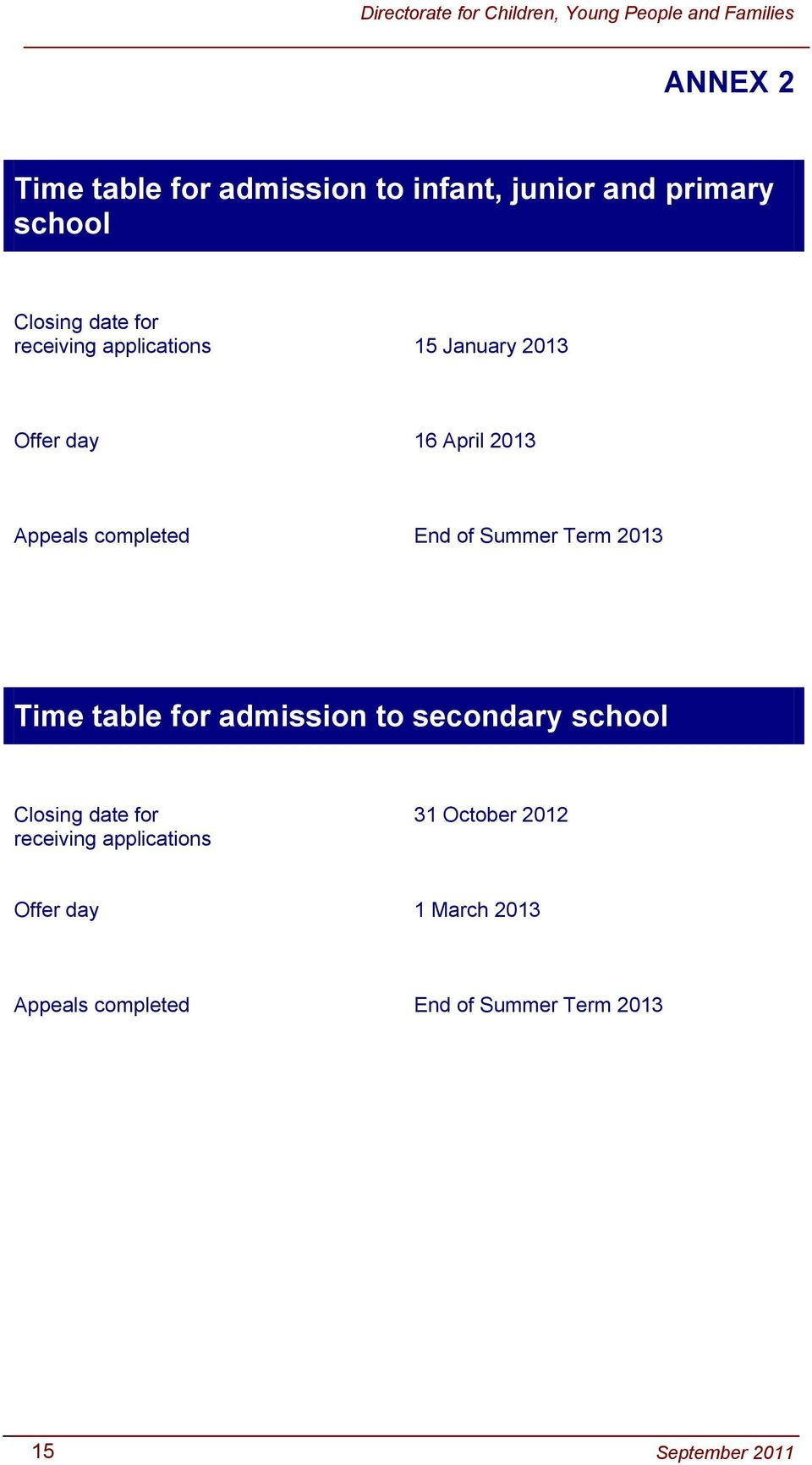 table for admission to secondary school e table for admission to infant, junior and primary Closing