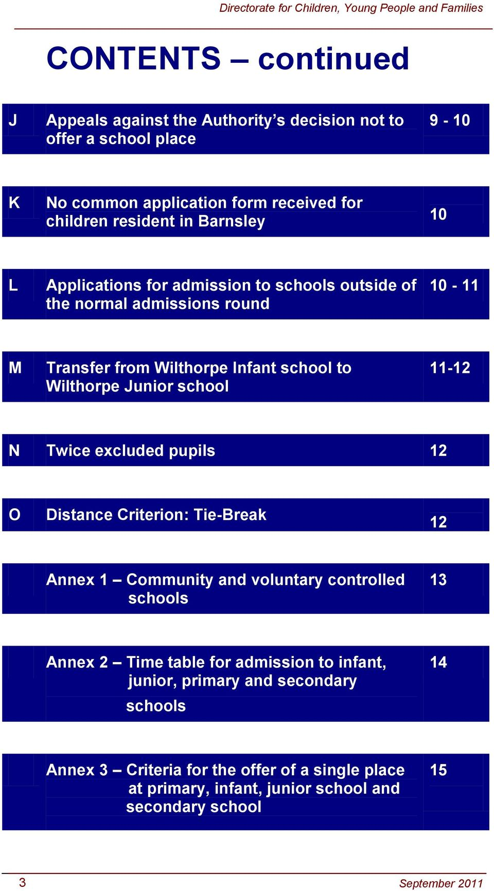 school 11-12 N Twice excluded pupils 12 O Distance Criterion: Tie-Break 12 Annex 1 Community and voluntary controlled schools 13 Annex 2 Time table for