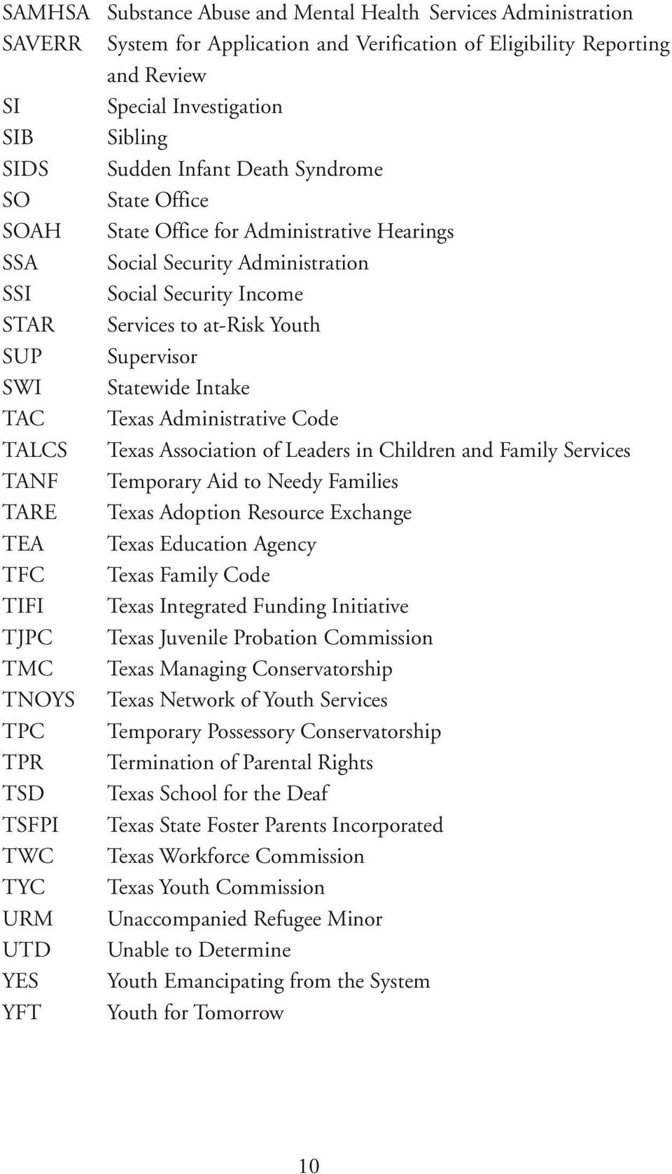 Hearings Social Security Administration Social Security Income Services to at-risk Youth Supervisor Statewide Intake Texas Administrative Code Texas Association of Leaders in Children and Family