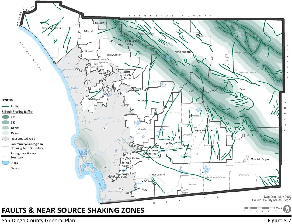Boundary Subregional Group Boundary Lakes Rivers San Dieguito Spring Valley Sweetwater Valle De Oro Ramona Lakeside FAULTS & NEAR SOURCE SHAKING ZONES Crest-Dehesa- Harbison Canyon- Granite Hills