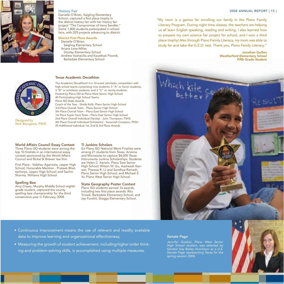 The Many Faces of Genius  Plano Schools 2008 Annual Report - PDF