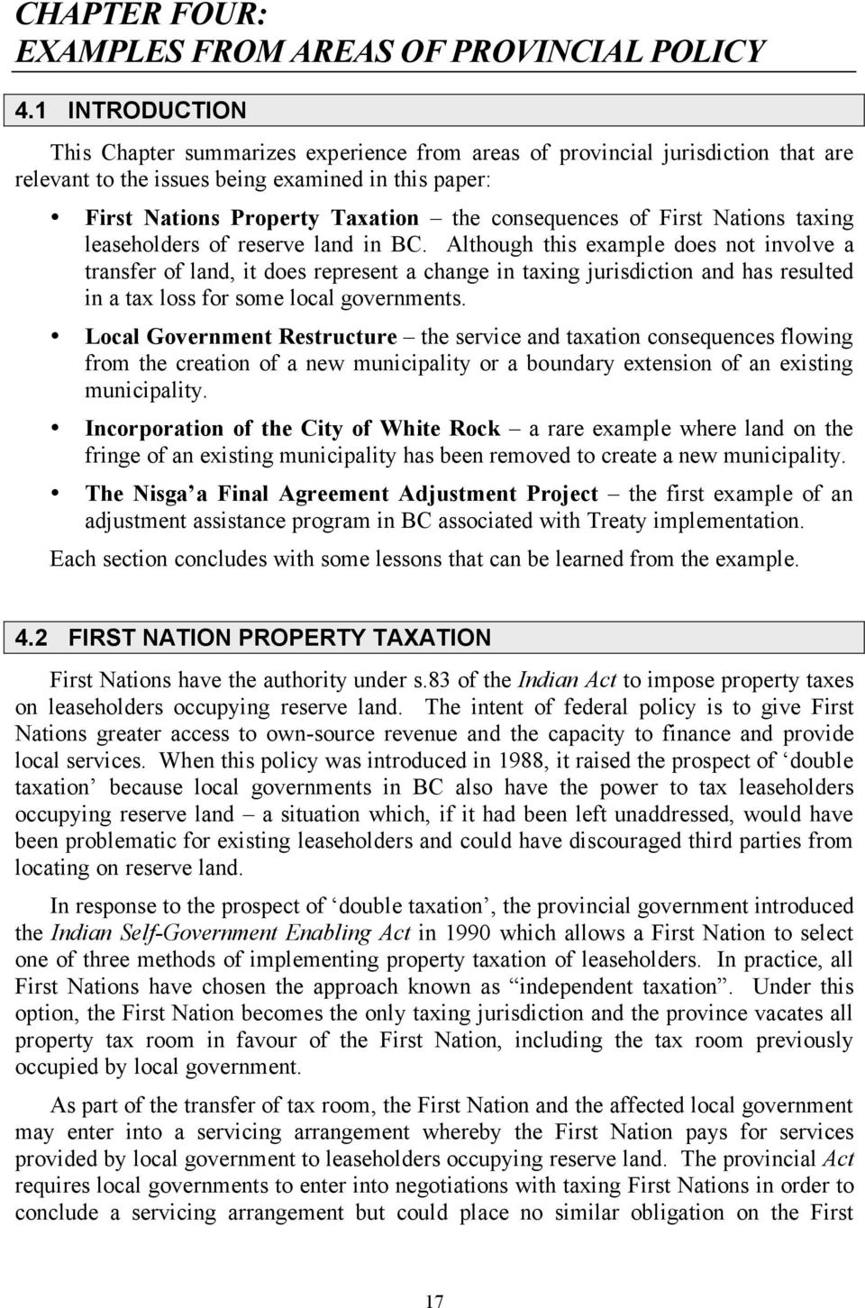 of First Nations taxing leaseholders of reserve land in BC.