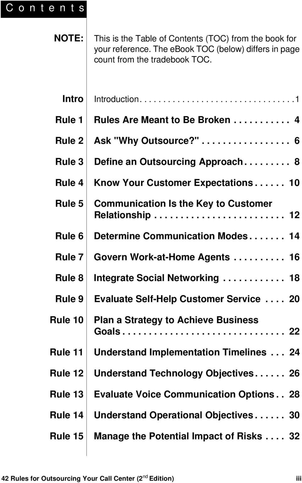 ........ 8 Rule 4 Know Your Customer Expectations...... 10 Rule 5 Communication Is the Key to Customer Relationship......................... 12 Rule 6 Determine Communication Modes.