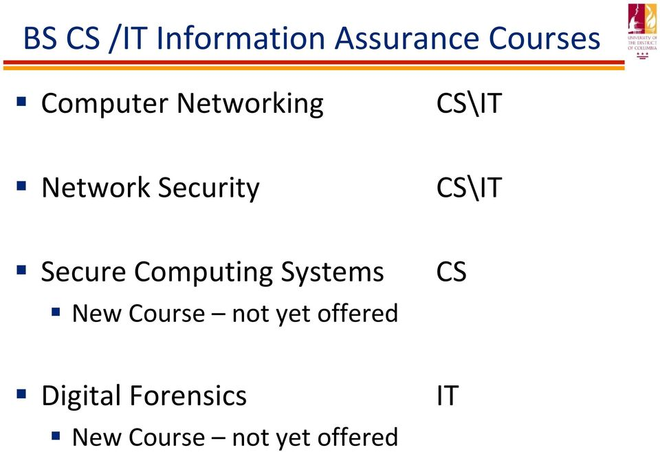 CS\IT Secure Computing Systems New Course not
