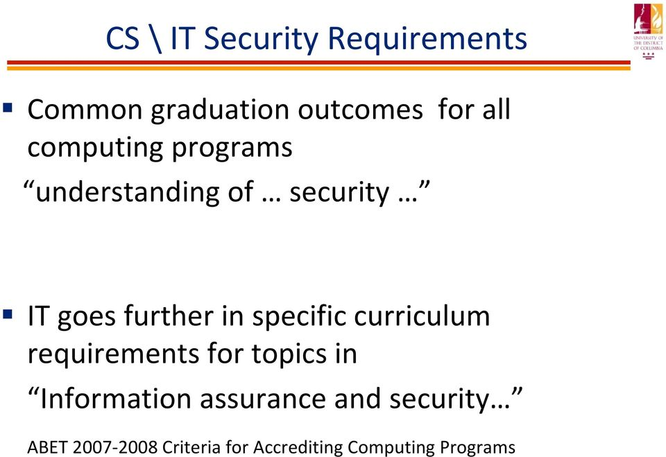 specific curriculum requirements for topics in Information
