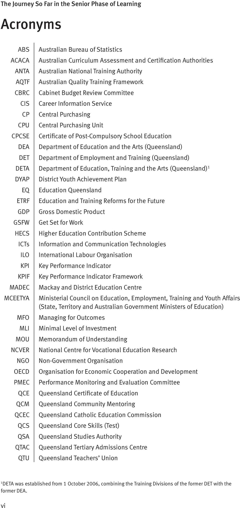 of Education and the Arts (Queensland) Department of Employment and Training (Queensland) DETA Department of Education, Training and the Arts (Queensland) 1 DYAP EQ ETRF GDP GSFW HECS ICTs ILO KPI