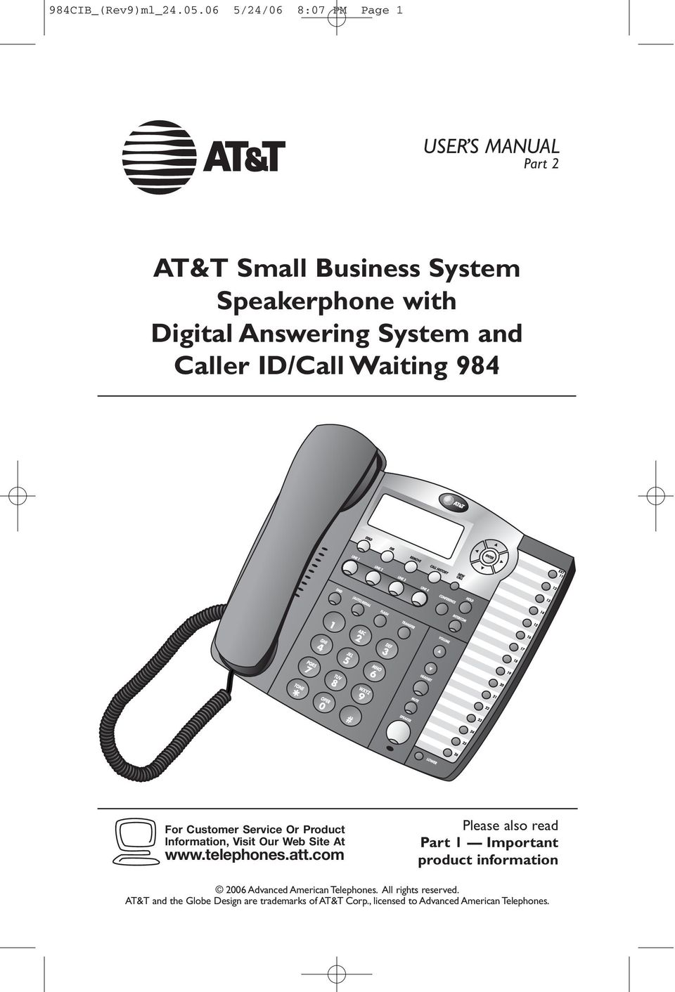 and Caller ID/Call Watng 984 For Customer Servce Or Product Informaton, Vst Our Web Ste At www.telephones.att.
