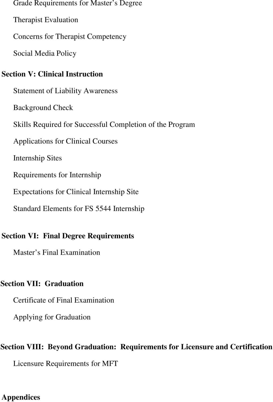 Expectations for Clinical Internship Site Standard Elements for FS 5544 Internship Section VI: Final Degree Requirements Master s Final Examination Section VII: