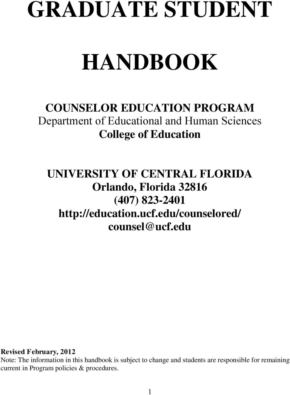 http://education.ucf.edu/counselored/ counsel@ucf.
