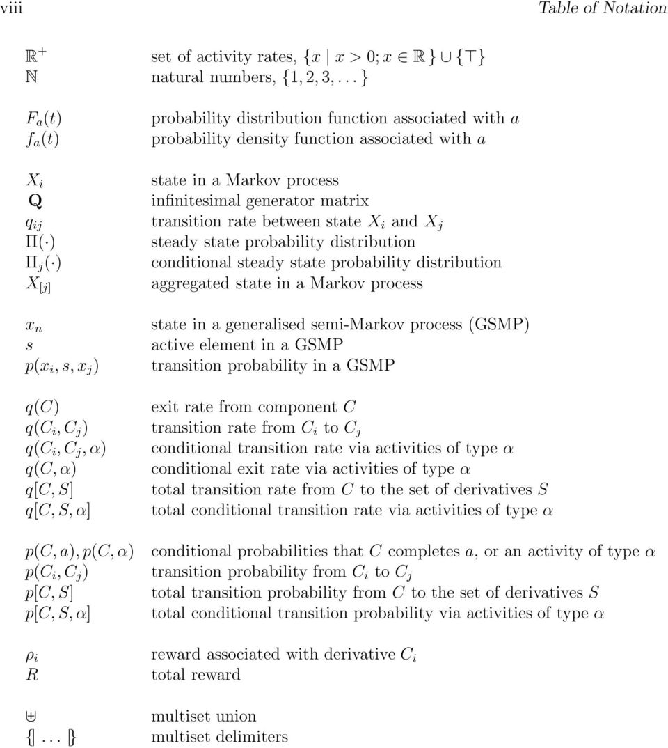distribution function associated with a probability density function associated with a state in a Markov process infinitesimal generator matrix transition rate between state X i and X j steady state
