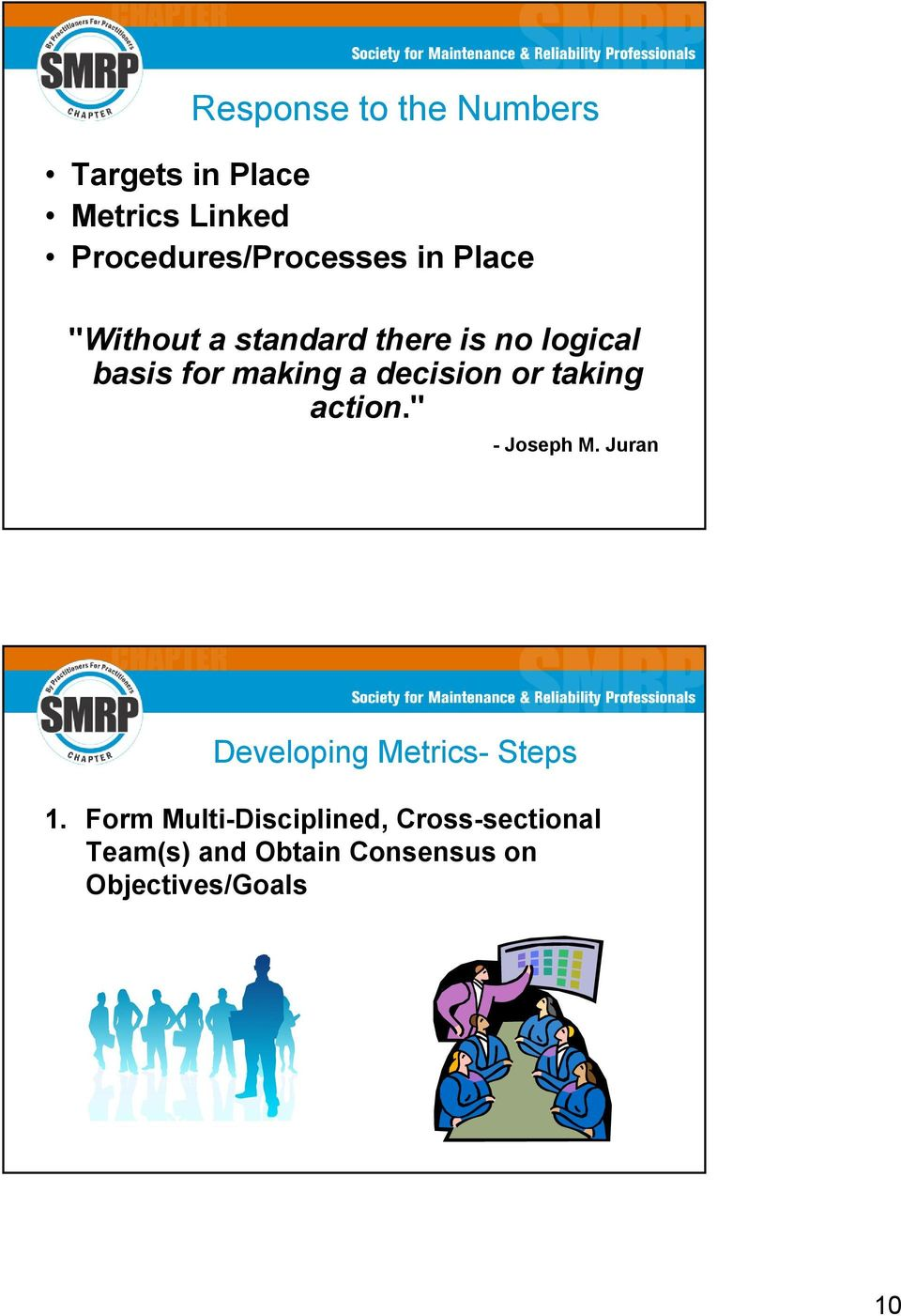 "or taking action."" - Joseph M. Juran Developing Metrics- Steps 1."