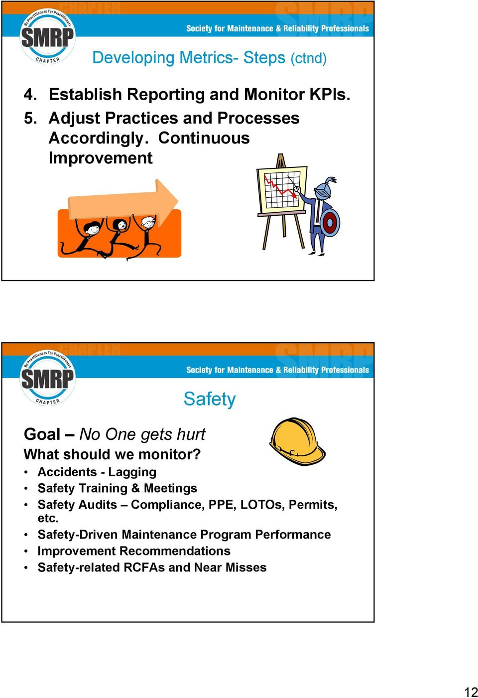 Continuous Improvement Safety Goal No One gets hurt What should we monitor?