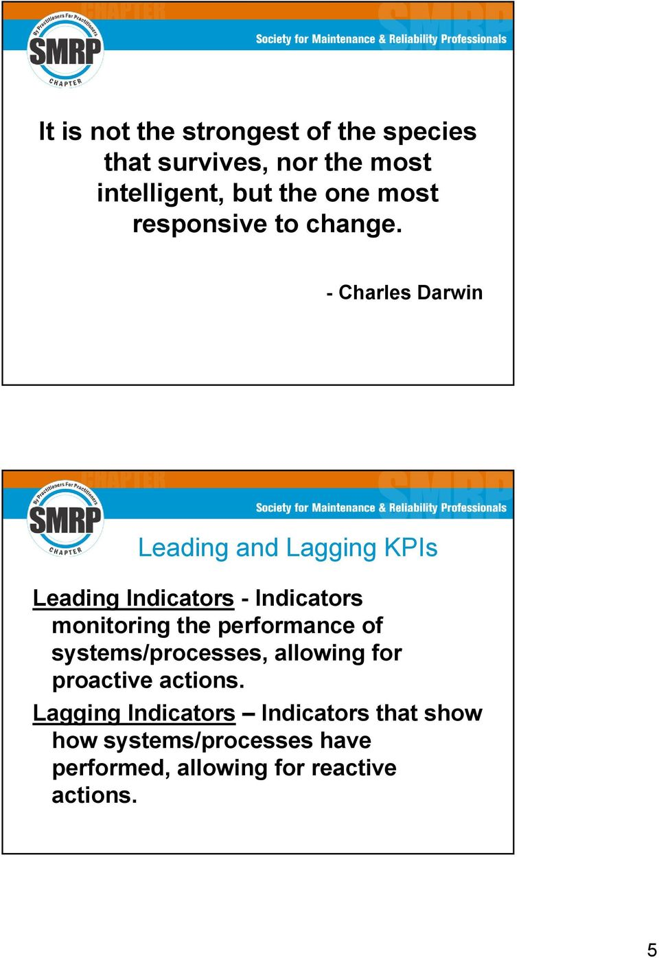 - Charles Darwin Leading and Lagging KPIs Leading Indicators - Indicators monitoring the