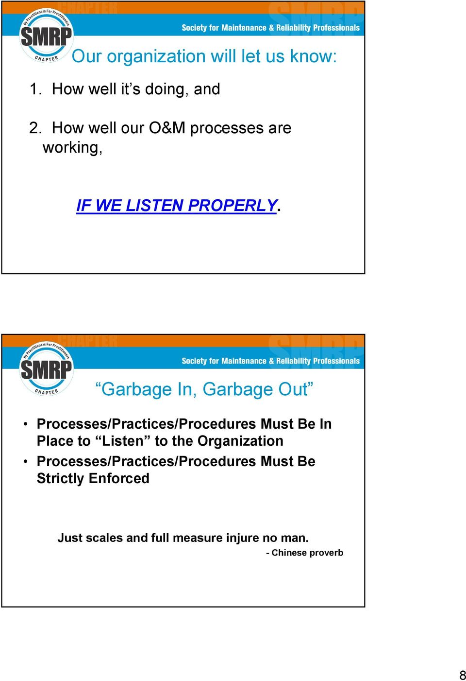 Garbage In, Garbage Out Processes/Practices/Procedures Must Be In Place to Listen to