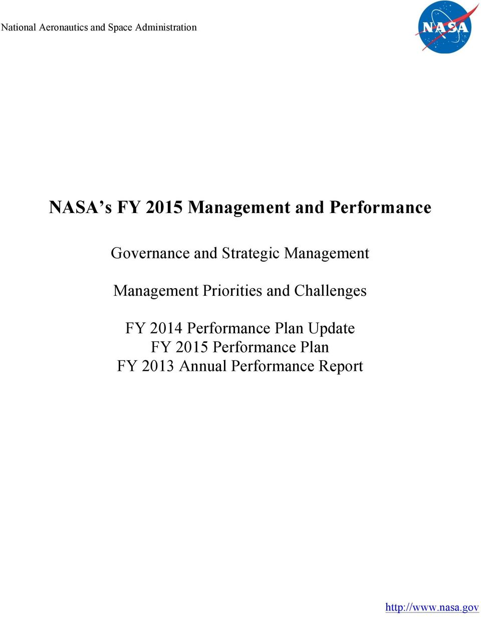 Management Priorities and Challenges FY 2014 Performance Plan