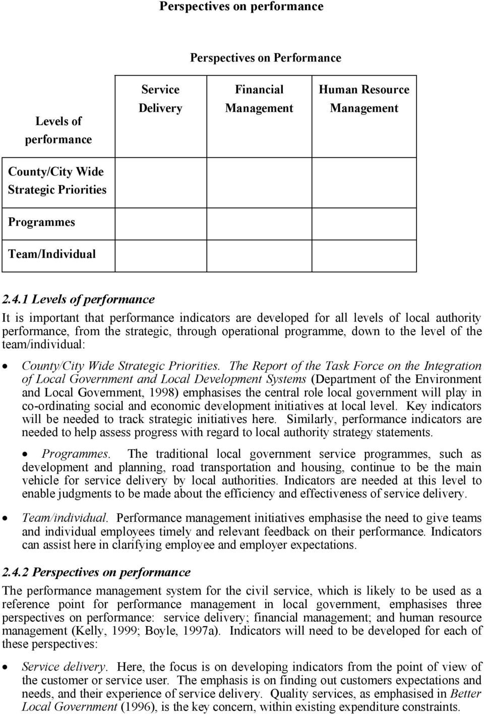 1 Levels of performance It is important that performance indicators are developed for all levels of local authority performance, from the strategic, through operational programme, down to the level