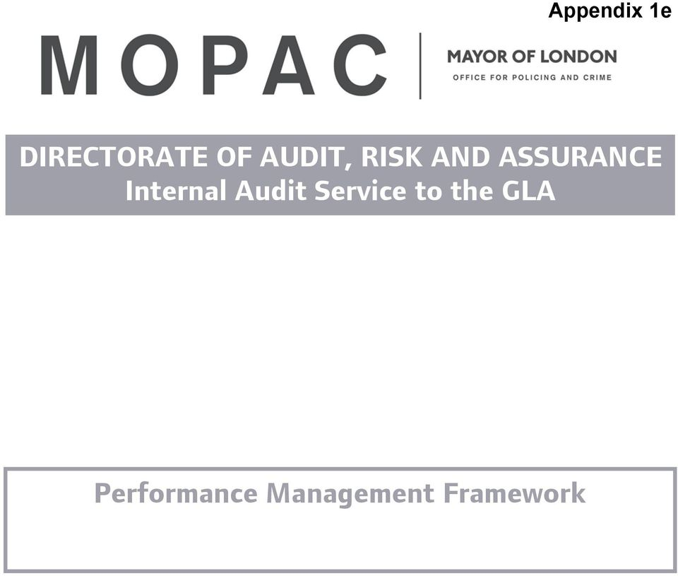 Internal Audit Service to the