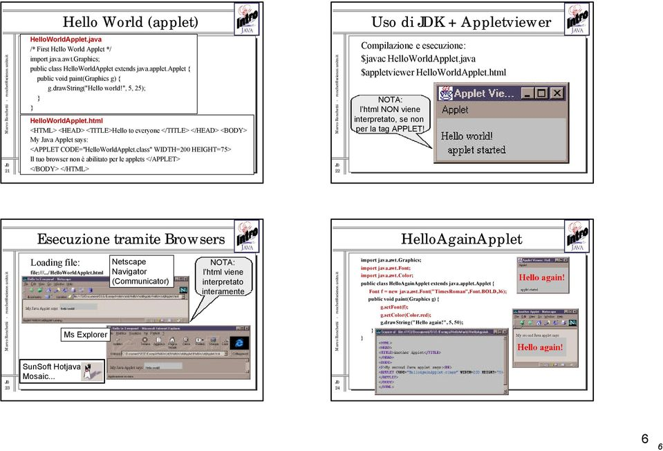 "class"" WIDTH=200 HEIGHT=75> Il tuo browser non è abilitato per le applets </APPLET> </BODY> </HTML> 22 Compilazione e esecuzione: $javac HelloWorldApplet.java $appletviewer HelloWorldApplet."
