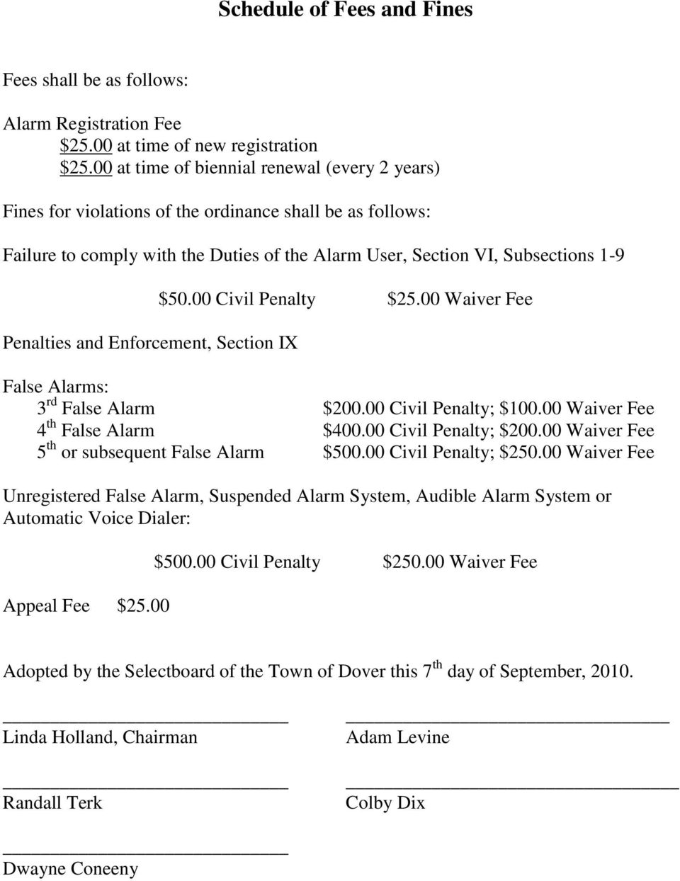 and Enforcement, Section IX $50.00 Civil Penalty $25.00 Waiver Fee False Alarms: 3 rd False Alarm $200.00 Civil Penalty; $100.00 Waiver Fee 4 th False Alarm $400.00 Civil Penalty; $200.