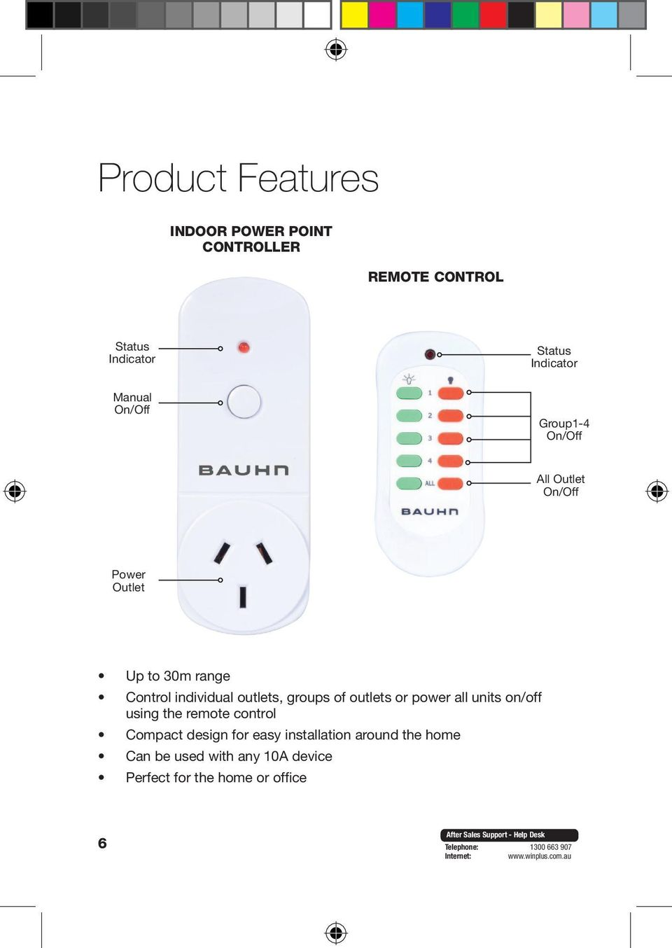 individual outlets, groups of outlets or power all units on/off using the remote control Compact