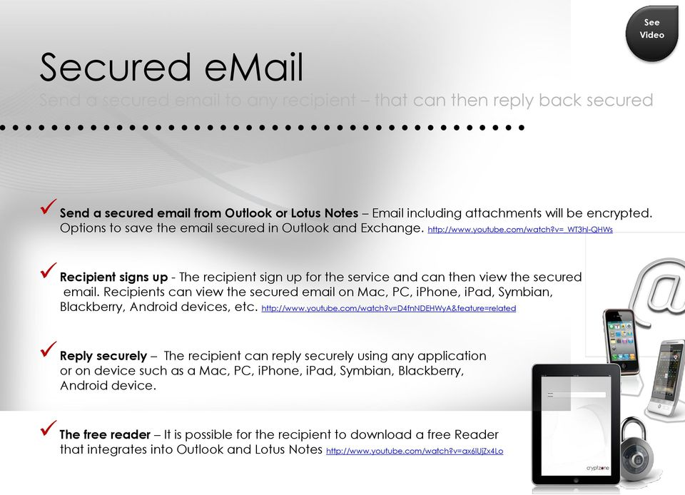 Recipients can view the secured email on Mac, PC, iphone, ipad, Symbian, Blackberry, Android devices, etc. http://www.youtube.com/watch?