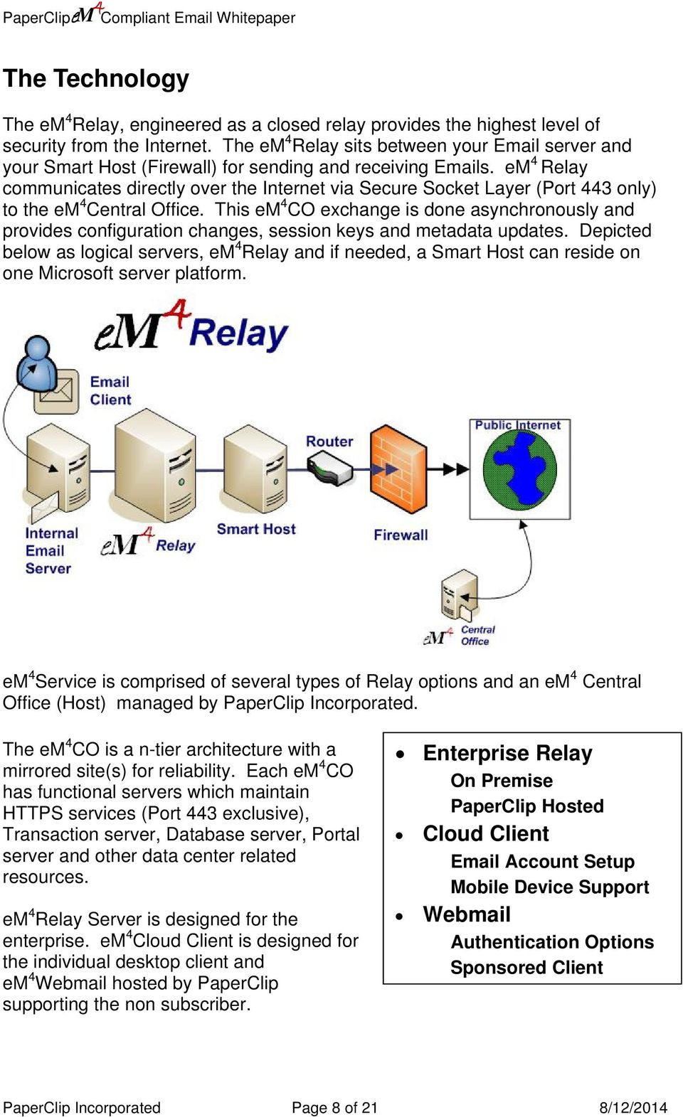 Relay communicates directly over the Internet via Secure Socket Layer (Port 443 only) to the Central Office.
