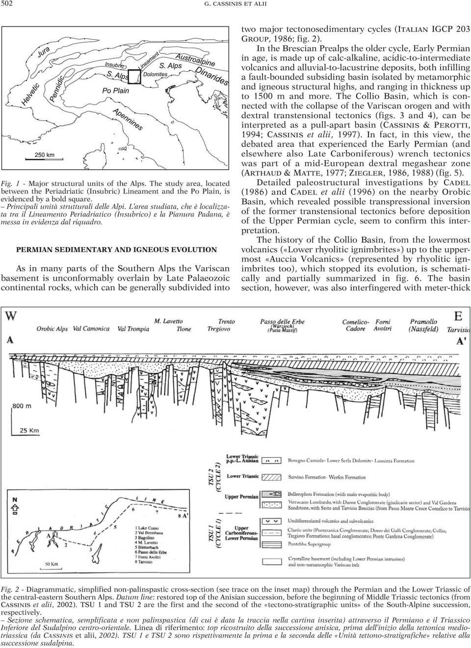 PERMIAN SEDIMENTARY AND IGNEOUS EVOLUTION As in many parts of the Southern Alps the Variscan basement is unconformably overlain by Late Palaeozoic continental rocks, which can be generally subdivided