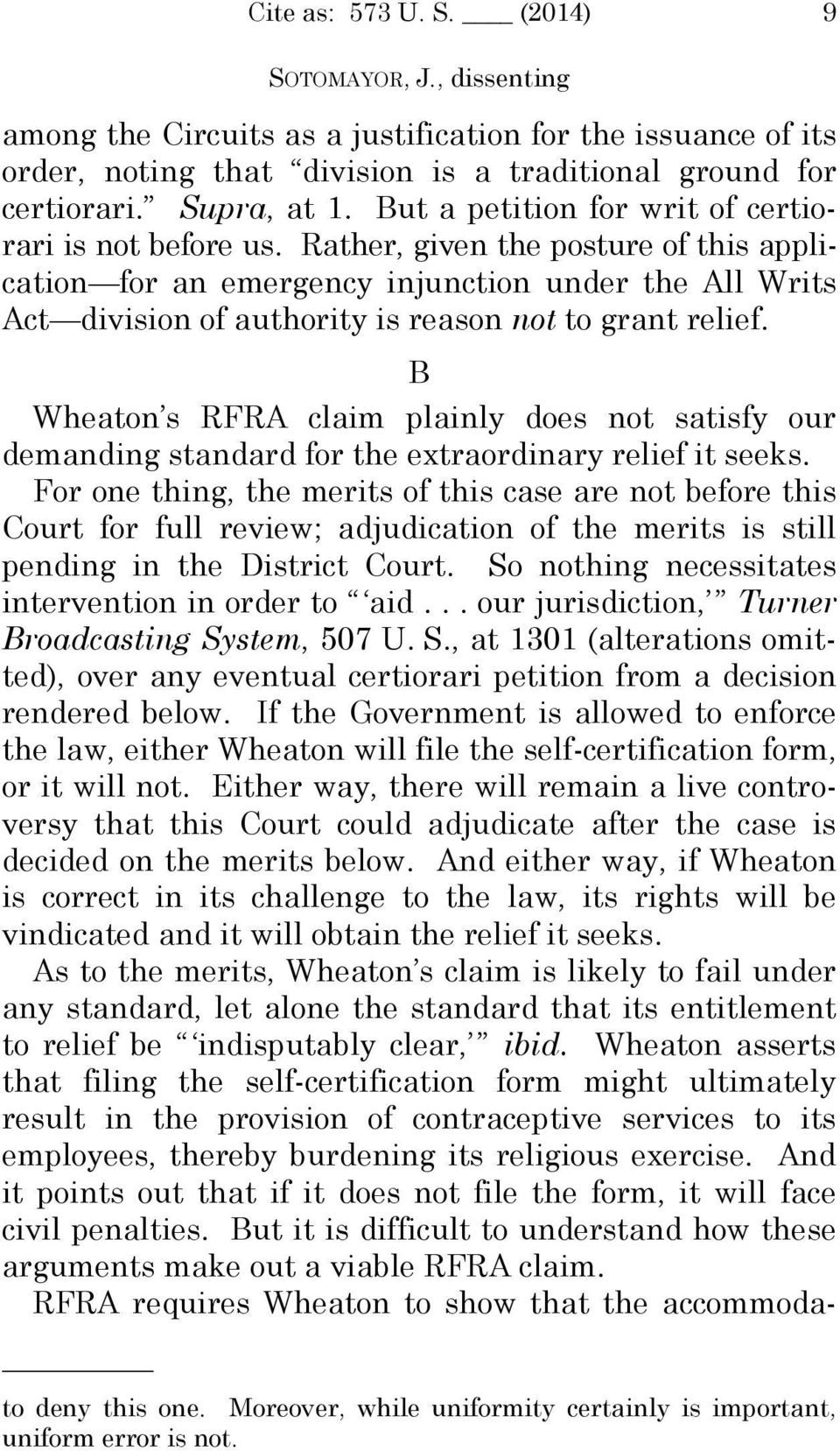 Rather, given the posture of this application for an emergency injunction under the All Writs Act division of authority is reason not to grant relief.