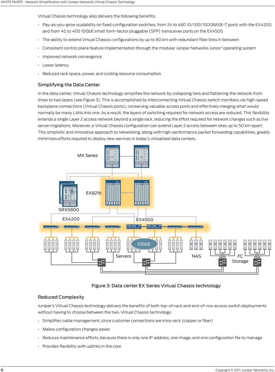 links in between Consistent control plane feature implementation through the modular Juniper Networks Junos operating system Improved network convergence Lower latency Reduced rack space, power, and