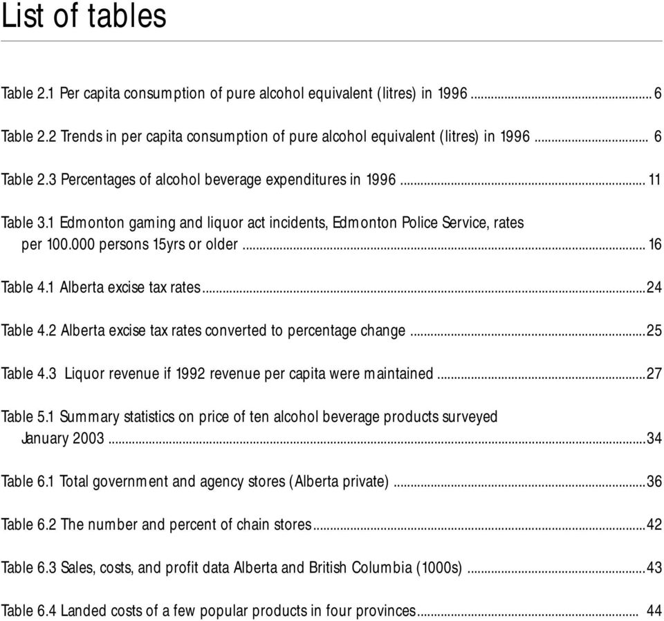 2 Alberta excise tax rates converted to percentage change...25 Table 4.3 Liquor revenue if 1992 revenue per capita were maintained...27 Table 5.