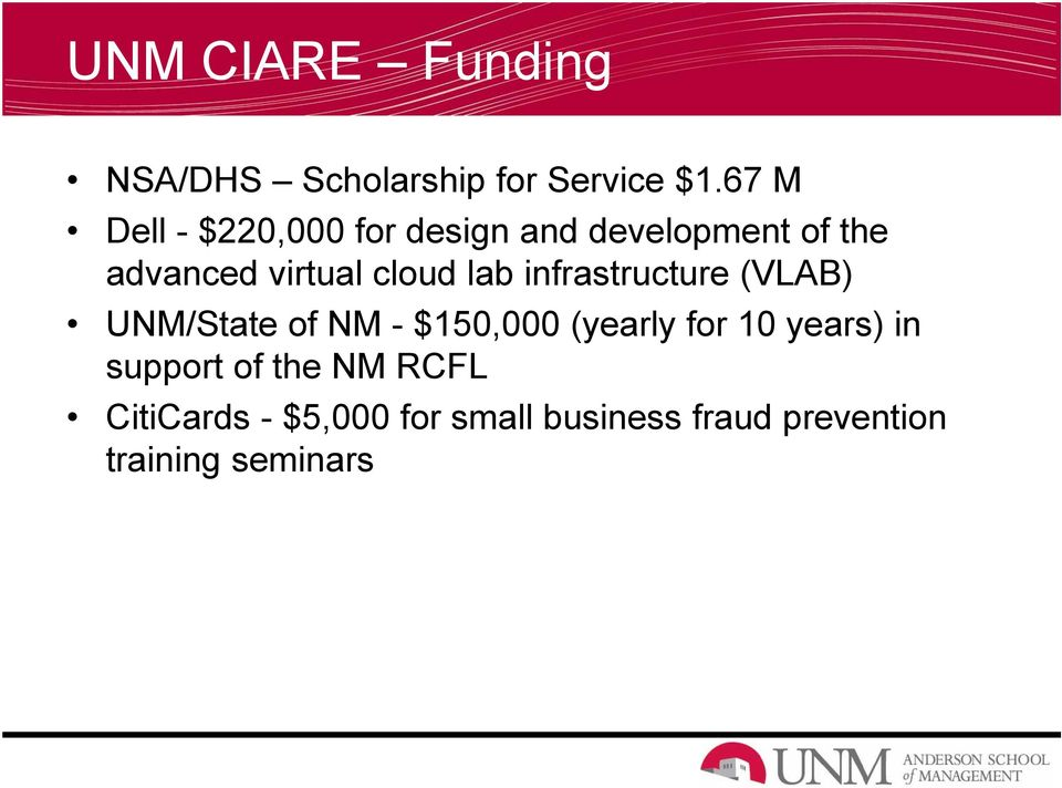 cloud lab infrastructure (VLAB) UNM/State of NM - $150,000 (yearly for 10