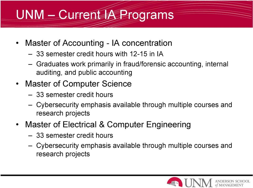 credit hours Cybersecurity emphasis available through multiple courses and research projects Master of Electrical &