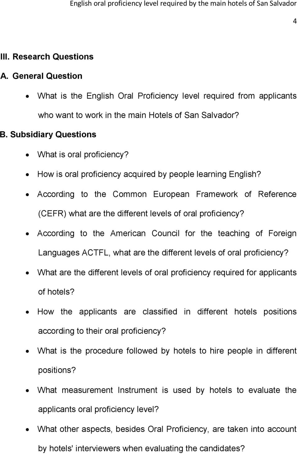 According to the Common European Framework of Reference (CEFR) what are the different levels of oral proficiency?