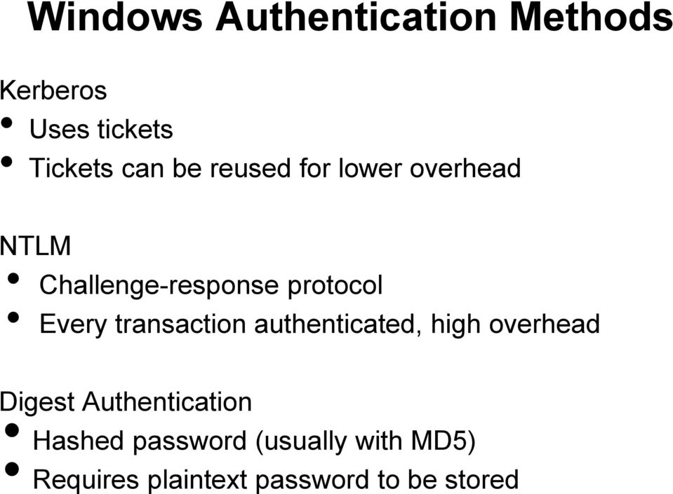 transaction authenticated, high overhead Digest Authentication