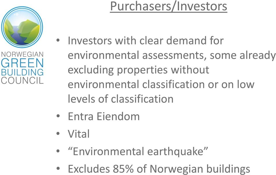 environmental classification or on low levels of classification