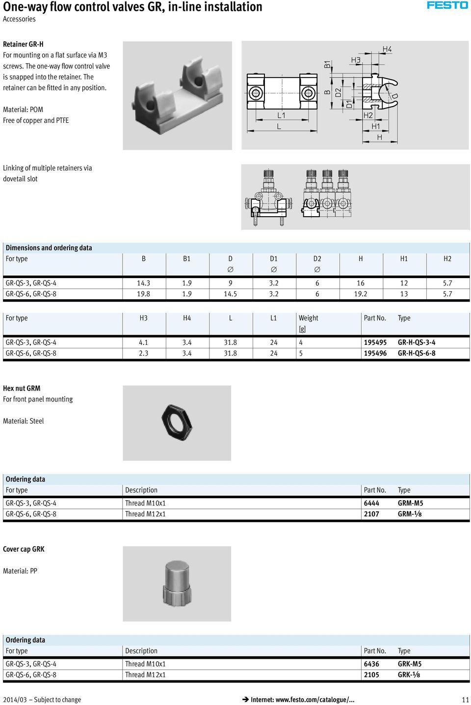 9 9 3.2 6 16 12 5.7 GR-QS-6, GR-QS-8 19.8 1.9 14.5 3.2 6 19.2 13 5.7 For type H3 H4 L L1 Weight Part No. Type [g] GR-QS-3, GR-QS-4 4.1 3.4 31.