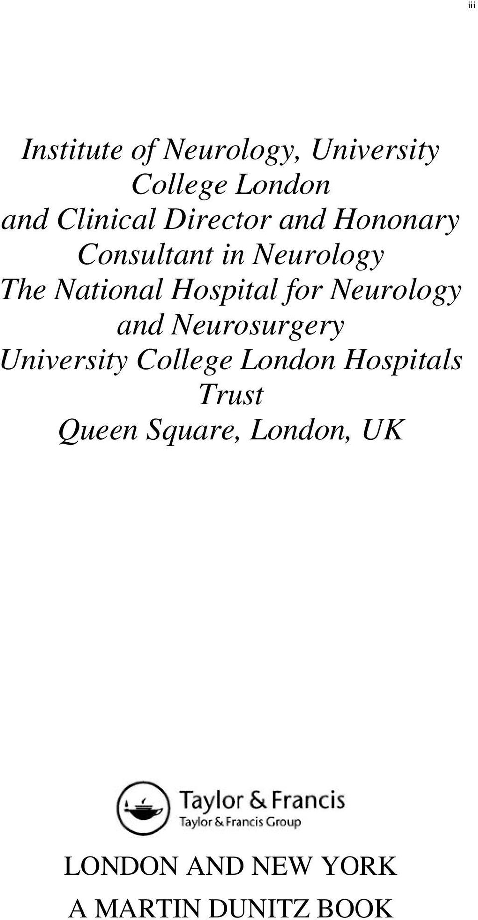 for Neurology and Neurosurgery University College London Hospitals