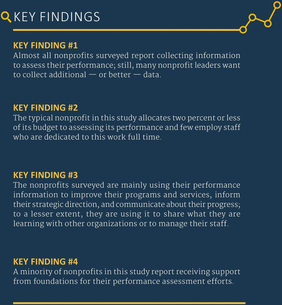 KEY FINDING #3 The nonprofits surveyed are mainly using their performance information to improve their programs and services, inform their strategic direction, and communicate about their progress;