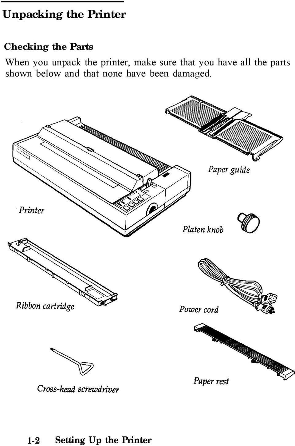 the parts shown below and that none have been