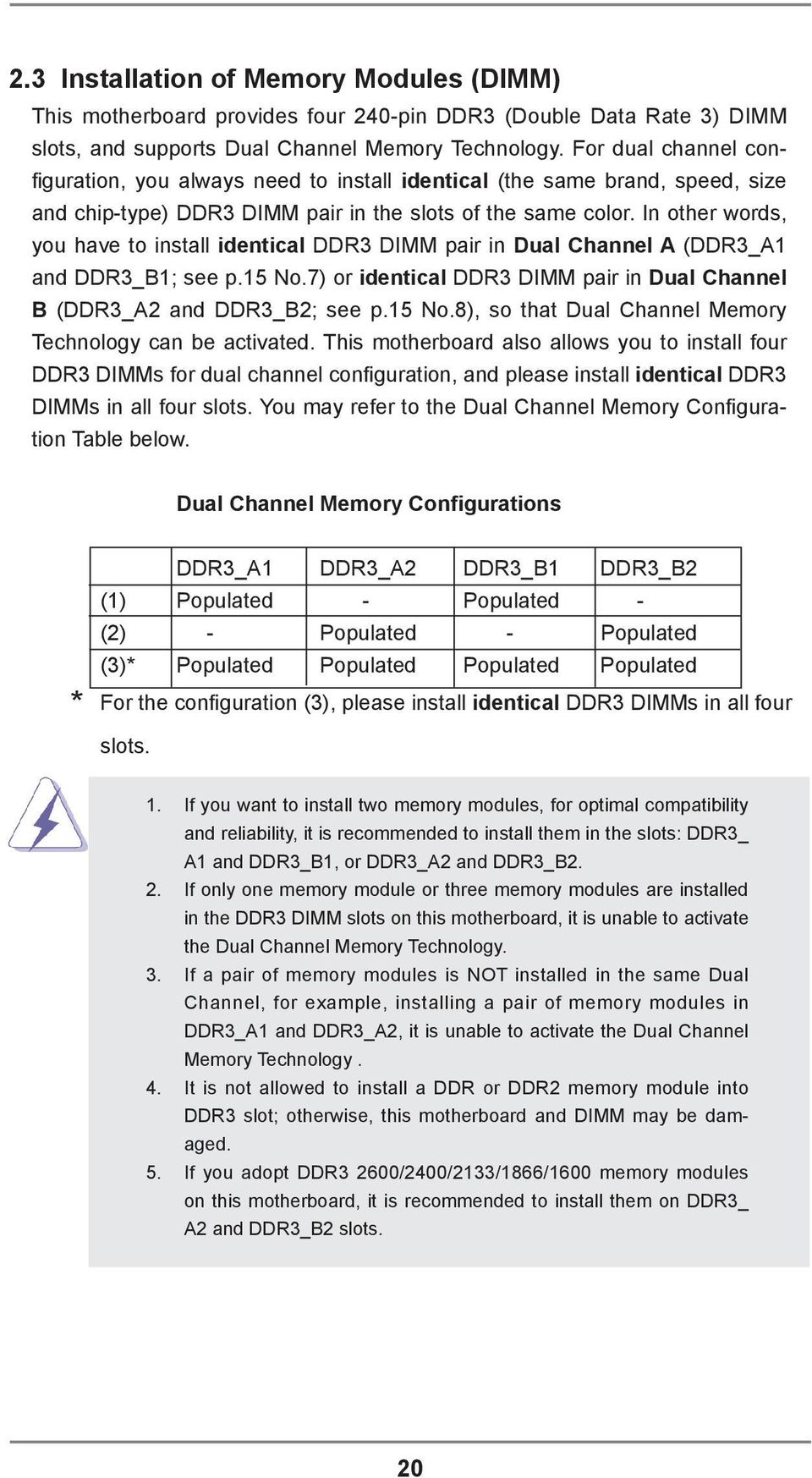 In other words, you have to install identical DDR3 DIMM pair in Dual Channel A (DDR3_A1 and DDR3_B1; see p.15 No.7) or identical DDR3 DIMM pair in Dual Channel B (DDR3_A2 and DDR3_B2; see p.15 No.8), so that Dual Channel Memory Technology can be activated.