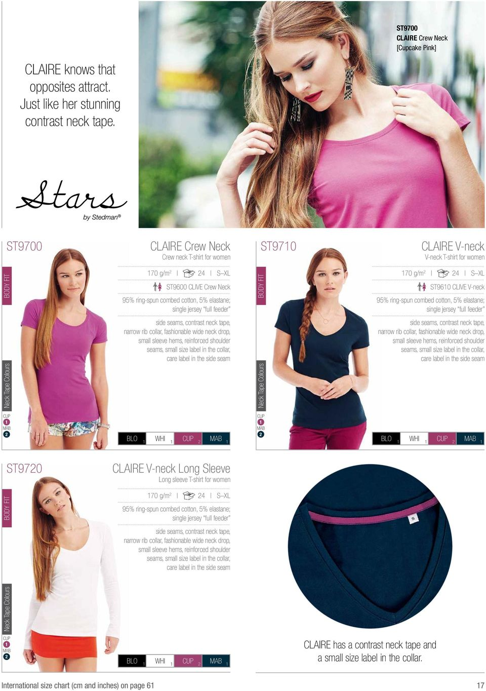 tape, narrow rib collar, fashionable wide neck drop, small sleeve hems, reinforced shoulder seams, small size label in the collar, care label in the side seam BODY FIT ST9710 CLAIRE V-neck V-neck