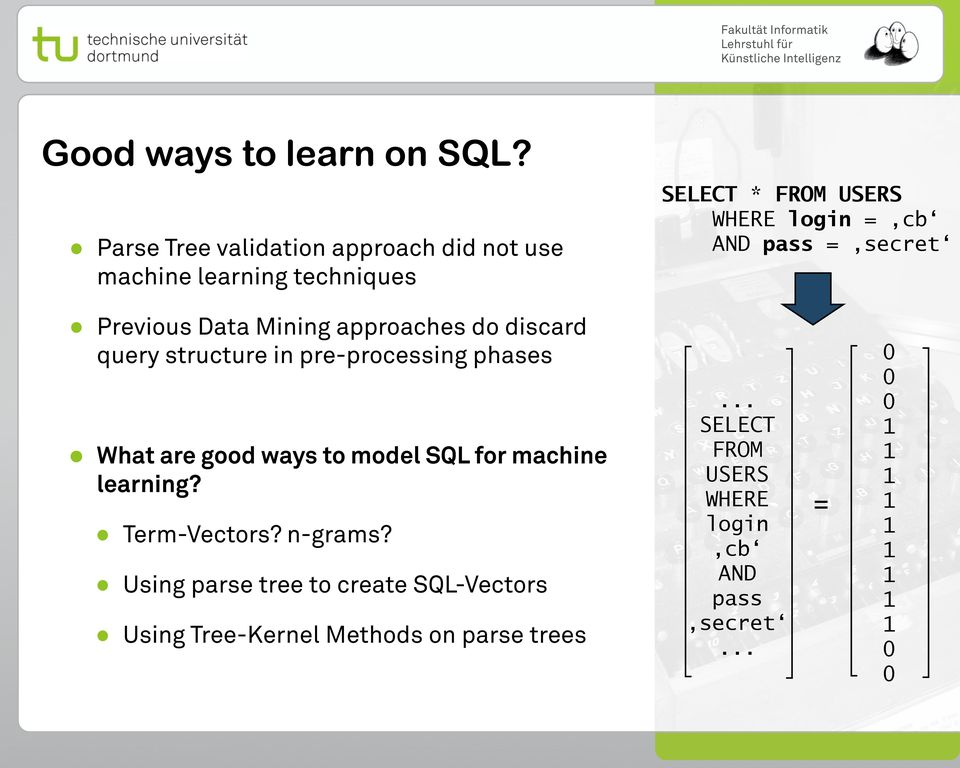 learning techniques Previous Data Mining approaches do discard query structure in pre-processing phases What are
