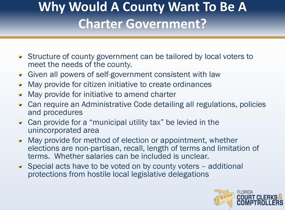 detailing all regulations, policies and procedures Can provide for a municipal utility tax be levied in the unincorporated area May provide for method of election or appointment, whether