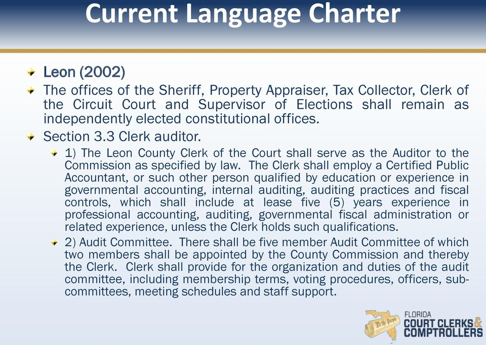 The Clerk shall employ a Certified Public Accountant, or such other person qualified by education or experience in governmental accounting, internal auditing, auditing practices and fiscal controls,