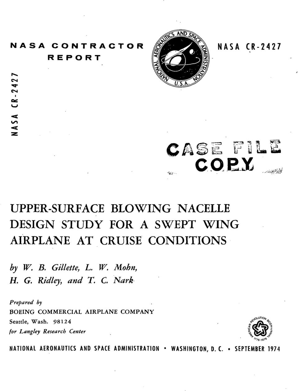 C. Nark Prepared by BOEING COMMERCIAL AIRPLANE COMPANY Seattle, Wash.
