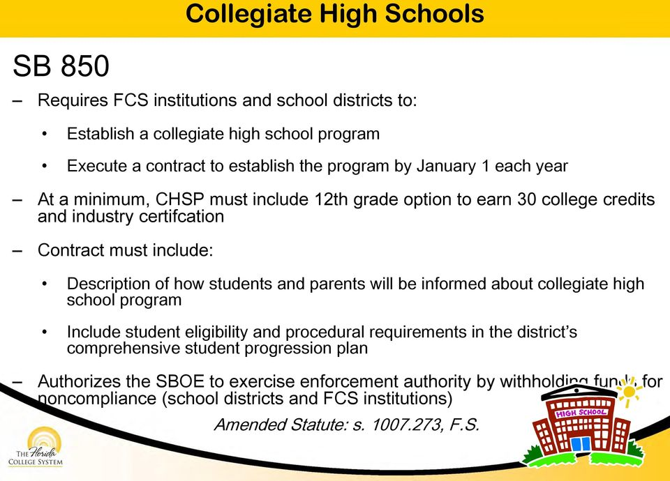students and parents will be informed about collegiate high school program Include student eligibility and procedural requirements in the district s comprehensive student