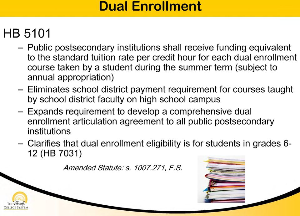 courses taught by school district faculty on high school campus Expands requirement to develop a comprehensive dual enrollment articulation agreement