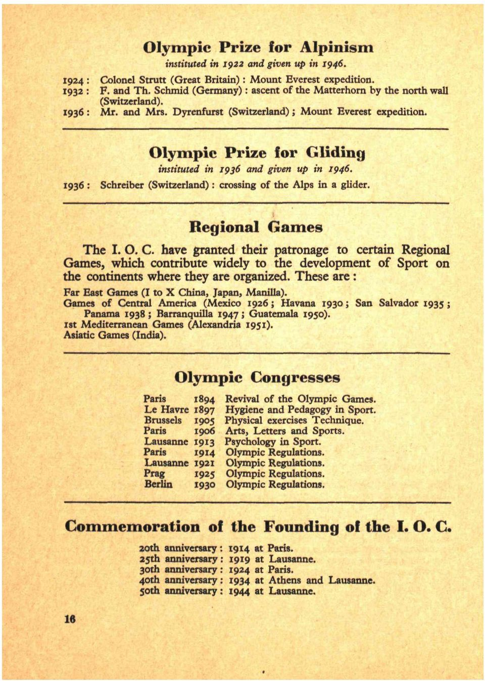 Olympic Prize for Gliding instituted in 1936 and given up in 1946. 1936 : Schreiber (Switzerland) : crossing of the Alps in a glider. Regional Games The I. O. C.