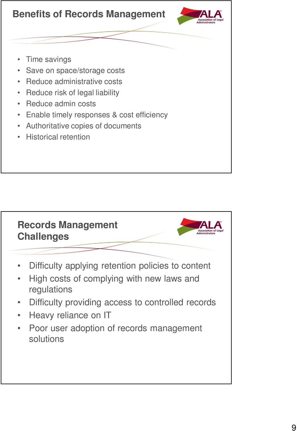 Records Management Challenges Difficulty applying retention policies to content High costs of complying with new laws and